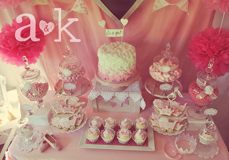 Nicole's Vintage Fairytale Pink Baby Shower Dessert Buffet by A&K