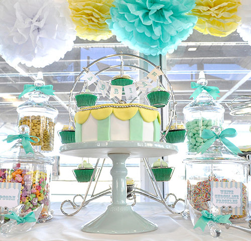 Adrian's Pastel Green & Yellow Carnival Themed Naming Day dessert table by A&K