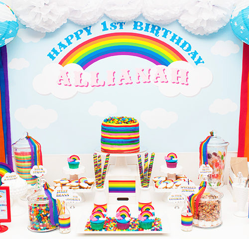 Allianah's Rainbow 1st Birthday dessert table by A&K