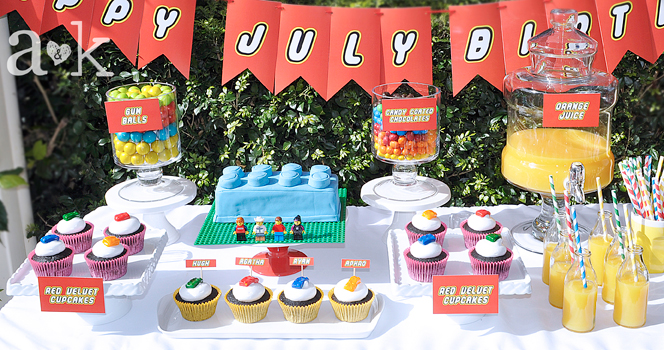 July LEGO Birthday Party Dessert Buffet by A&K