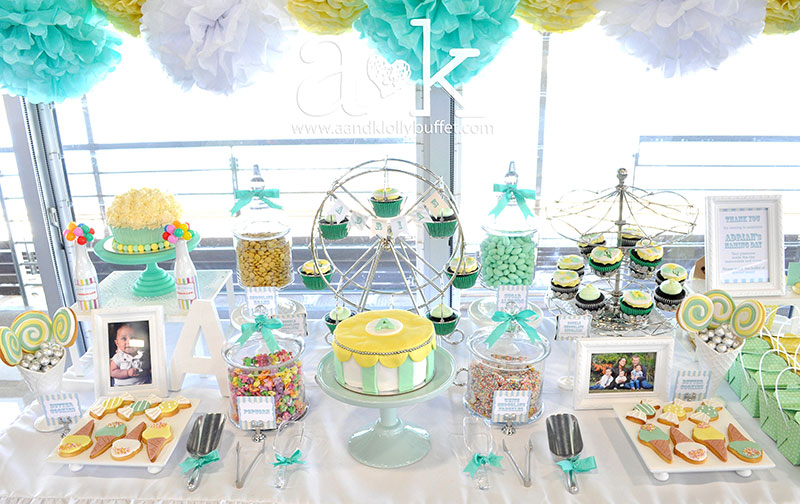 Adrian's Pastel Green & Yellow Carnival Themed Naming Day Dessert Buffet by A&K