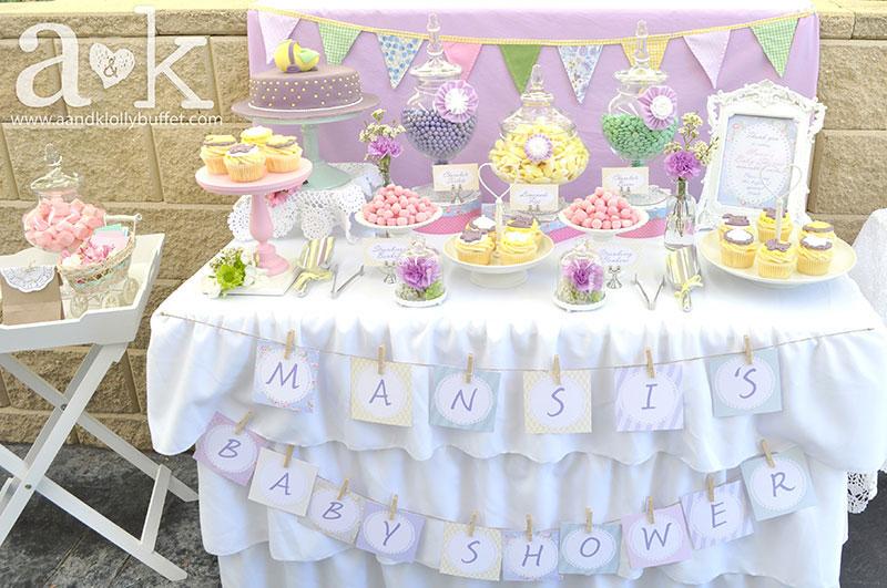 Mansi's Vintage Pastel Baby Shower Dessert Buffet by A&K
