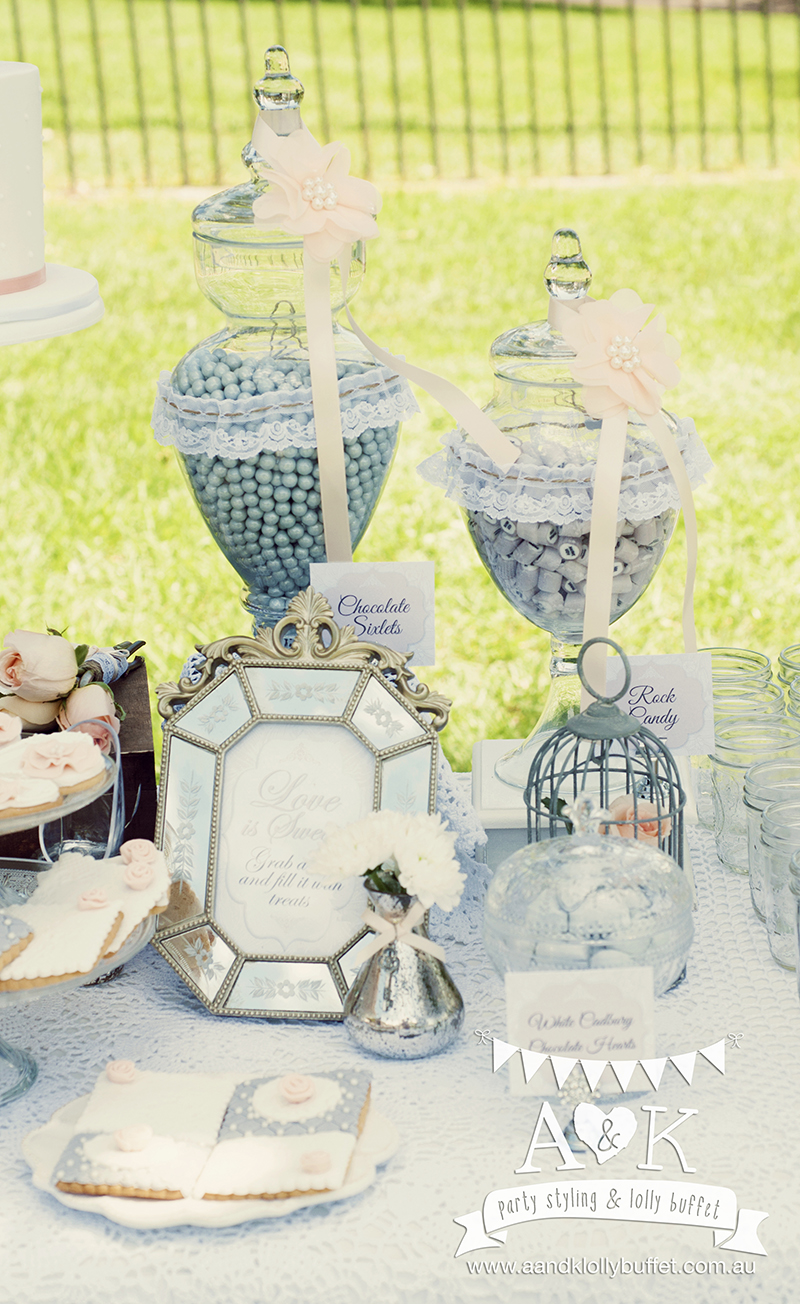 Joanne & Leo's Peach & Grey French Vintage Wedding Dessert Table by A&K. Styling & Photography by A&K.