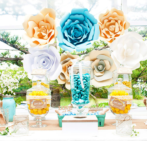 Kate & Rich's Yellow & Aqua Rustic Wedding dessert table by A&K Lolly Buffet