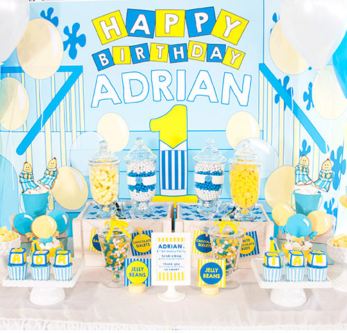 Adrian's Bananas in Pyjamas themed 1st Birthday dessert table by A&K Lolly Buffet