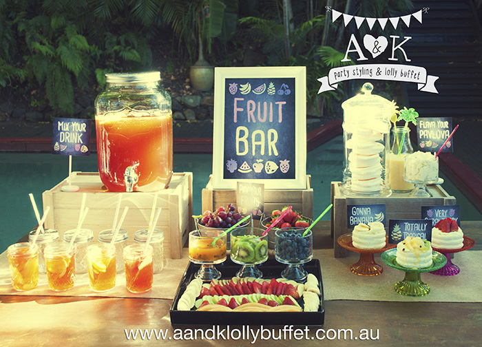 Funky Fruit Bar & Drink Station by A&K. Concept/Styling & Photography by A&K.