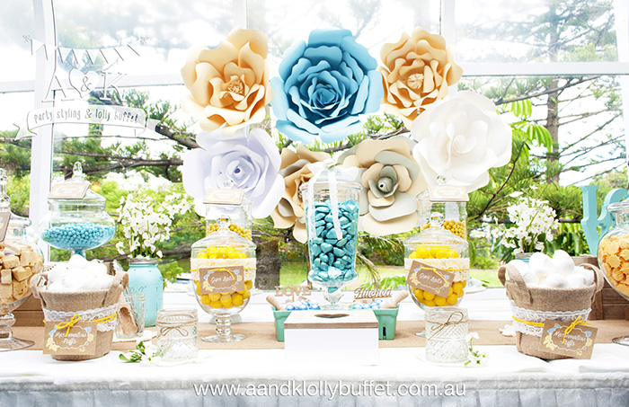 Kate & Rich's Yellow, Aqua & White Floral Rustic Wedding Lolly Buffet by A&K.