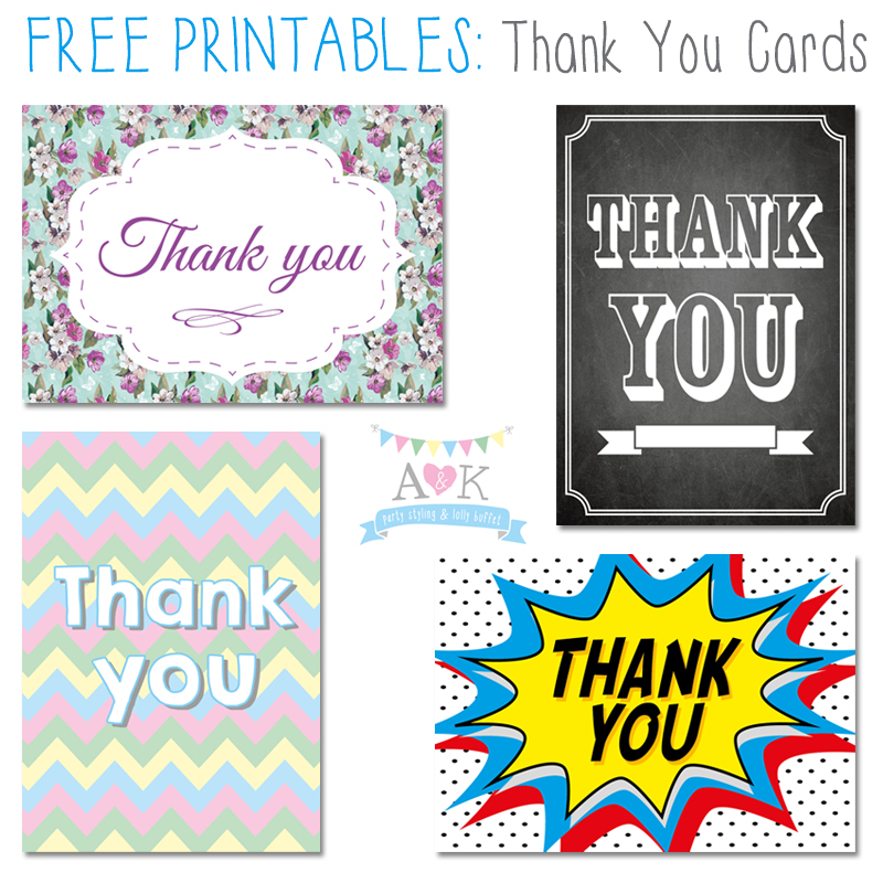 Free Printable Thank You Cards by A&K Lolly Buffet