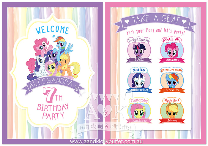 Welcome Sign amp Seating Plan Design By AampK My Little Pony Characters