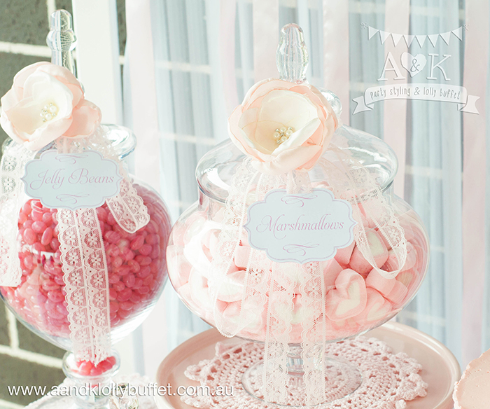 Michelle's Pretty in Pink Baby Shower dessert table by A&K.