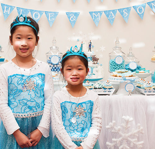 Chloe's 5th & Mason's 1st Frozen Birthday dessert table by A&K Lolly Buffet