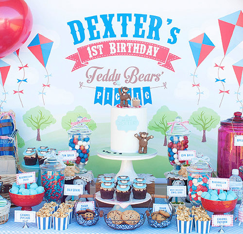 Dexter's Teddy Bears Picnic themed 1st Birthday dessert table by A&K Lolly Buffet
