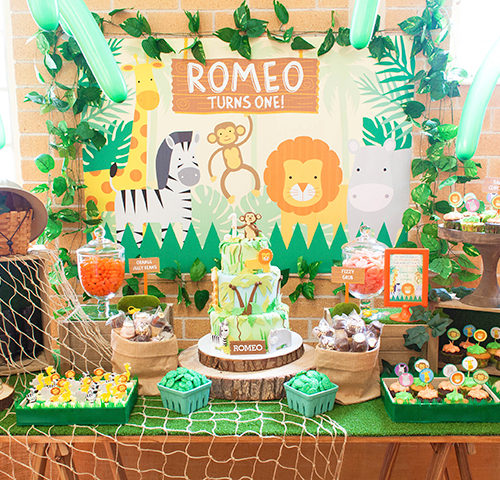 Romeo's Jungle themed 1st Birthday dessert table by A&K Lolly Buffet
