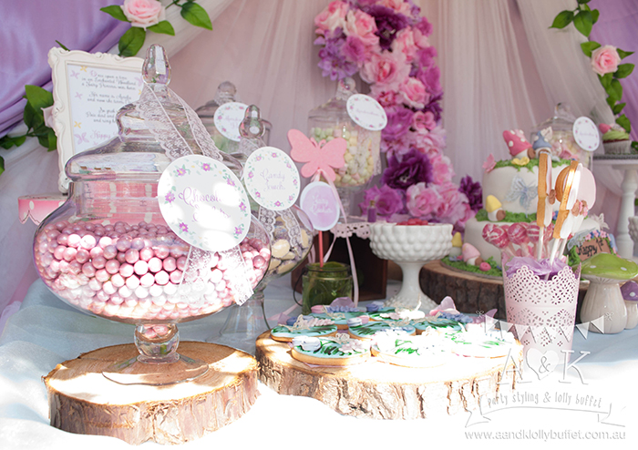 Aurelia's Pink & Purple Fairy Woodland themed Birthday dessert table by A&K