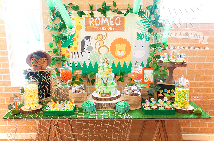 Romeos Jungle Safari Themed First Birthday Dessert Table By AK Lolly Buffet