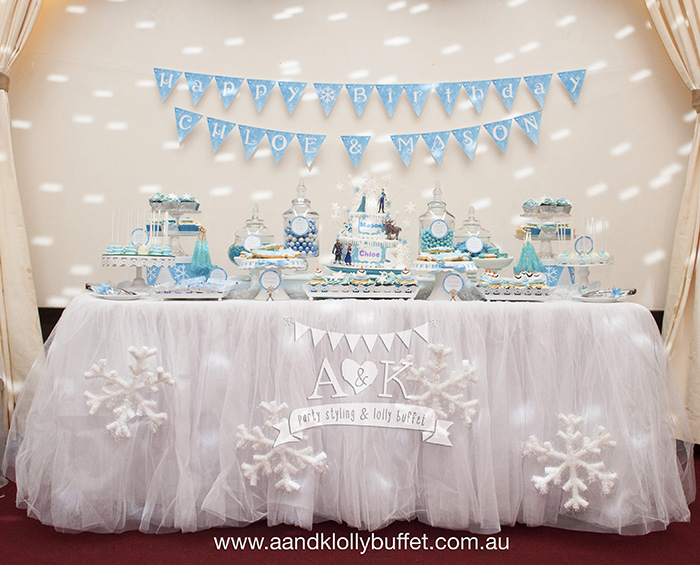 Chloe & Mason's Frozen Themed Birthday Dessert Table by A&K