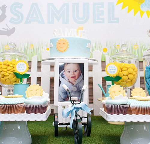 "Samuel's ""You are my Sunshine"" 1st Birthday dessert table by A&K Lolly Buffet"