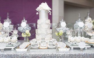Andrej & Joyce's Elegant Silver & White Dessert Table by A&K Lolly Buffet
