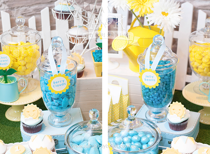 "Samuel's ""You Are My Sunshine"" themed 1st Birthday Dessert Table by A&K"