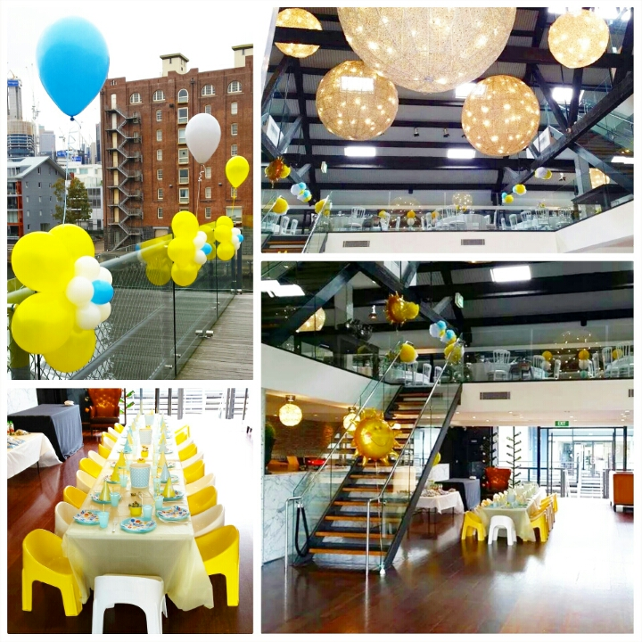 "Samuel's ""You are my Sunshine"" 1st Birthday Party. Venue: Doltone House, Jones Bay Wharf. Balloons by Balloon Elegance. Photography by A&K."
