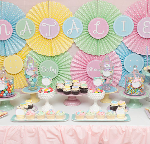 "Natalie's ""Cute As A Button"" Baby Shower dessert table by A&K Lolly Buffet"