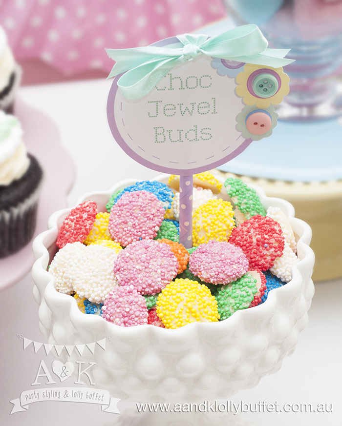 Natalie's Pastel Cute As A Button Baby Shower Dessert Table by A&K Lolly Buffet