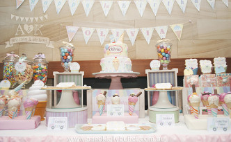 Olivia's Pastel Ice Cream Themed Dessert Table by A&K Lolly Buffet
