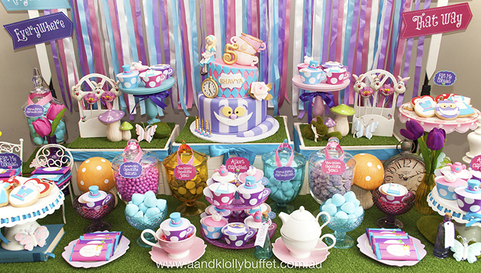 Bhavyas Birthday Mad Hatter Tea Party AampK Lolly Buffet