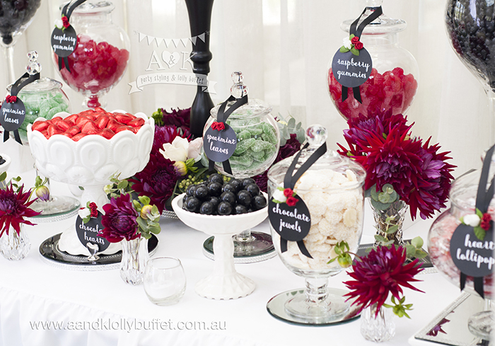 Biljana & Greg's black, white & red elegant floral lolly buffet by A&K