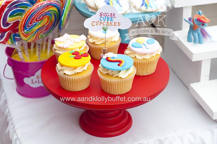 Scarlett's My Little Pony - Rainbow Dash themed dessert table by A&K Lolly Buffet