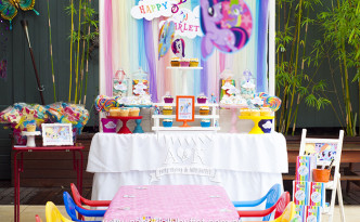 Scarlett's My Little Pony - Rainbow Dash themed dessert table by A&K Lolly Buffet