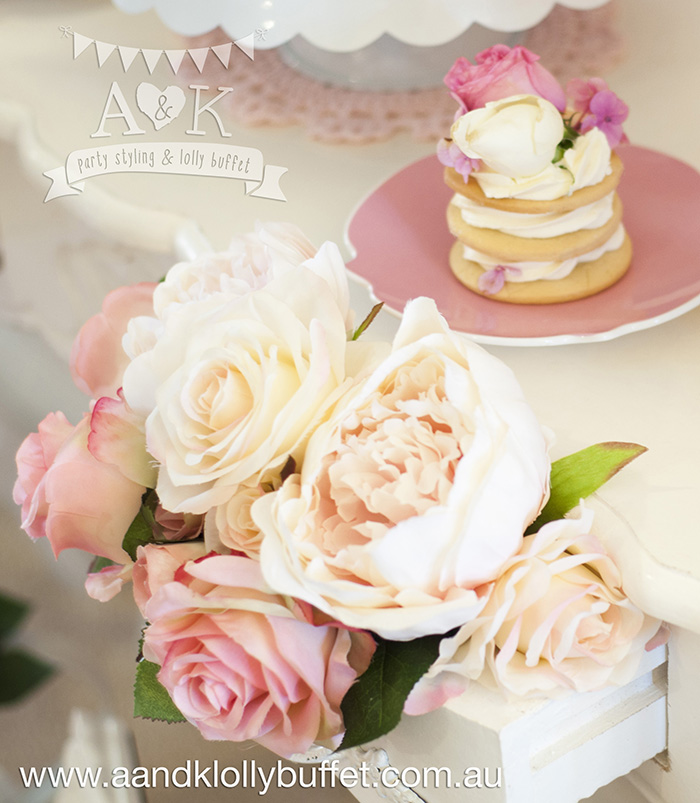 "Vicky's White & Pink Floral ""It's A Girl"" Baby Shower dessert table by A&K Lolly Buffet"