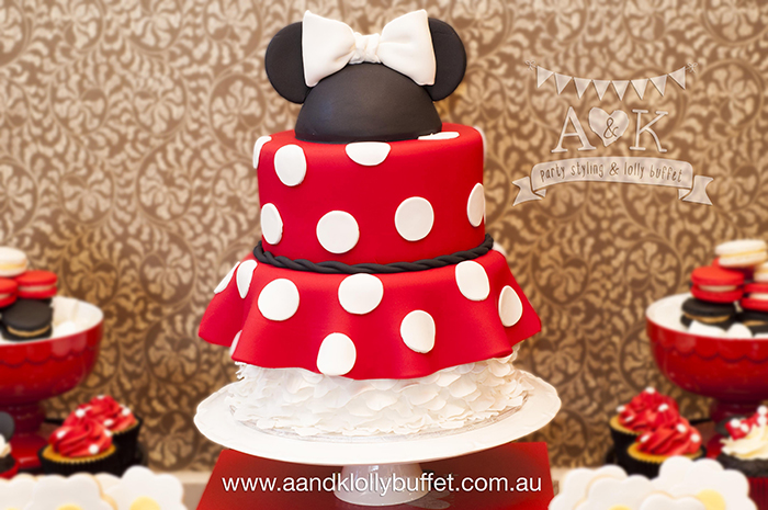 Sarah's Vintage Minnie Mouse Inspired Baby Shower dessert table by A&K Lolly Buffet