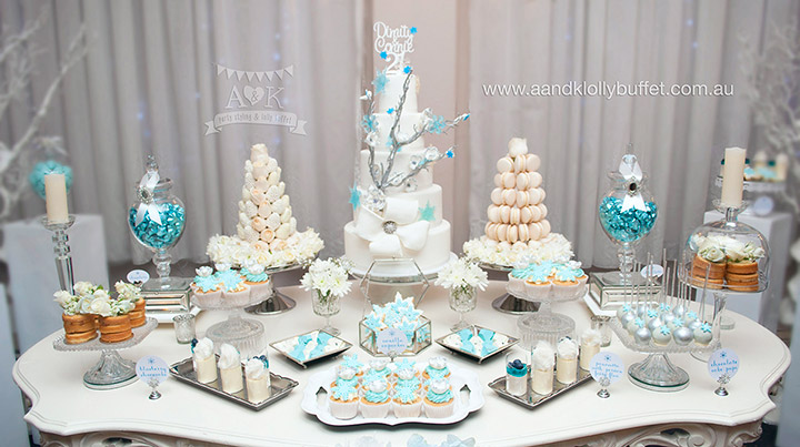 Winter Wonderland dessert table for Dimity & Connie's 21st Birthday by A&K Lolly Buffet