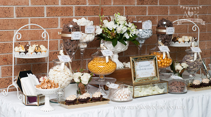 Lagi & Mikaele's Chocolate, White & Gold themed Wedding dessert table by A&K Lolly Buffet