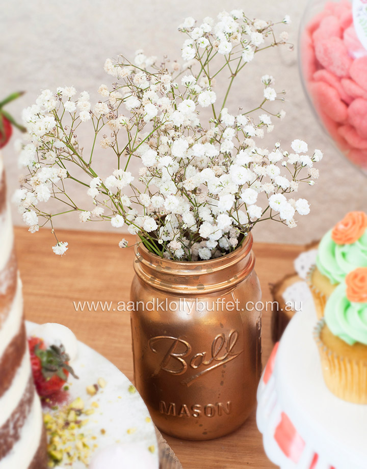 Ancella & Victor's Peach & Mint Green Floral Rustic Wedding dessert table by A&K Lolly Buffet