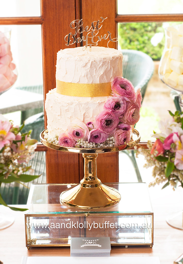 """Love is Sweet"" - Floral pastel & gold themed dessert table by A&K Lolly Buffet."