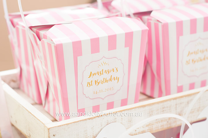 Anastasia's Pink & Gold 1st Birthday dessert table by A&K Lolly Buffet