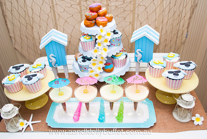 Aussie Beach Summer themed Welcome Party dessert table by A&K Lolly Buffet