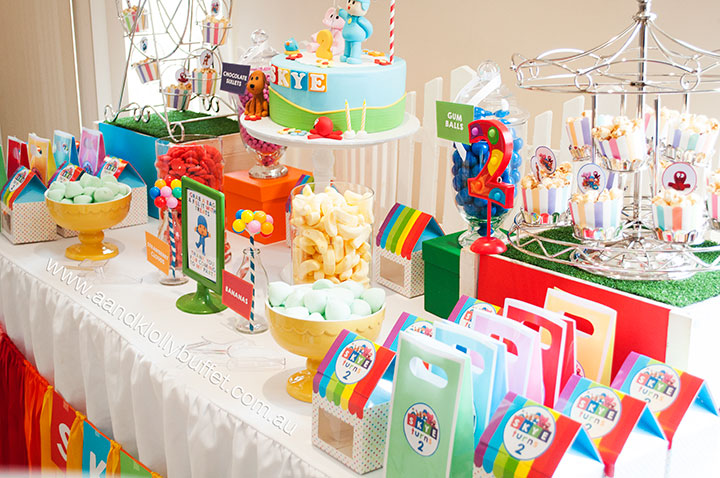 Skye's Pocoyo Rainbow Carnival themed 2nd Birthday Party dessert table by A&K Lolly Buffet