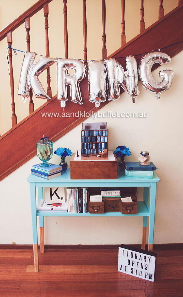 Kring's Library themed Birthday Lunch & Dessert Table by A&K Lolly Buffet