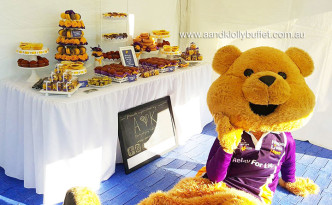 Sydney Relay for Life's Purple & Yellow dessert table by A&K Lolly Buffet