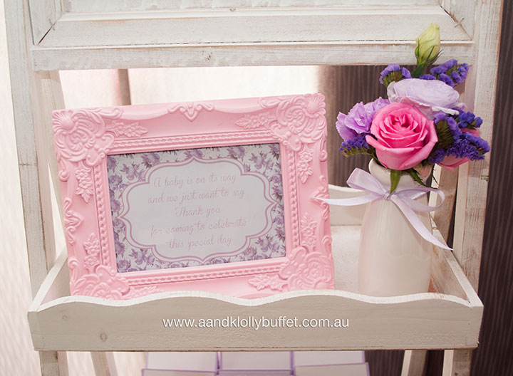 Abegaile's Pretty in Pink & Purple Baby Shower dessert table by A&K Lolly Buffet