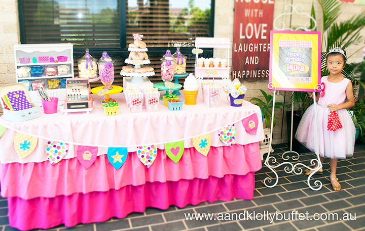 Mika's Shopkins inspired 6th Birthday dessert table by A&K Lolly Buffet