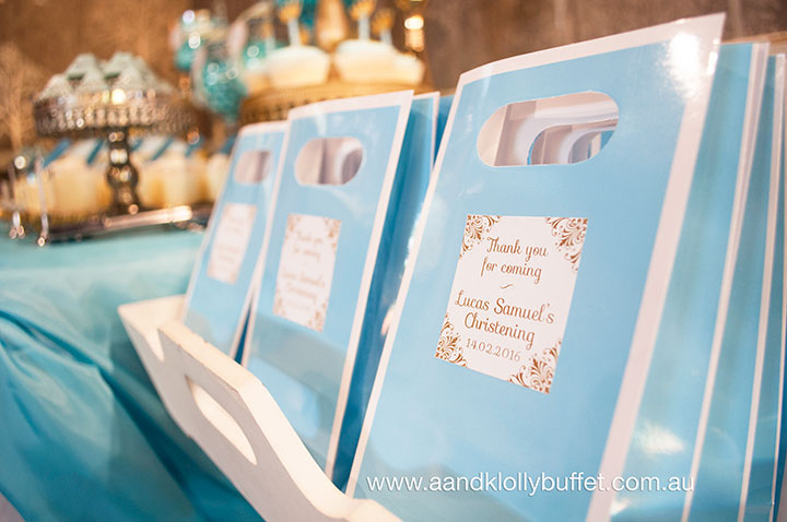 Lucas' Blue & Gold Royal Prince themed Christening Dessert Table by A&K Lolly Buffet