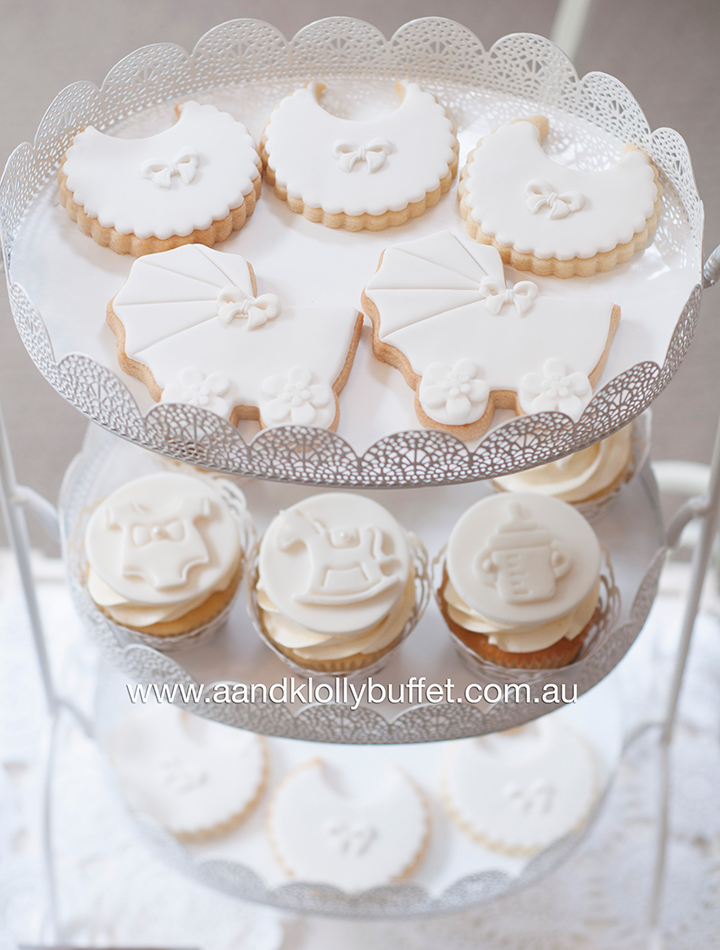 Eshara's White Shabby Chic Baby Shower dessert table by A&K Lolly Buffet