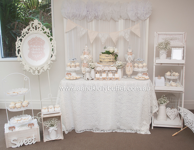 eshara 39 s white shabby chic baby shower a k lolly buffet. Black Bedroom Furniture Sets. Home Design Ideas