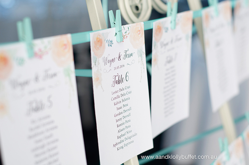 Tessa & Wayne's Floral Peach & Mint Green themed Wedding lolly buffet by A&K
