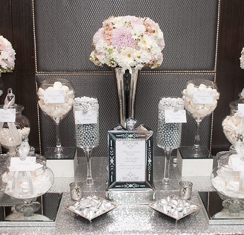 Danielle & Jeffrey's Elegant White & Silver Wedding dessert table by A&K