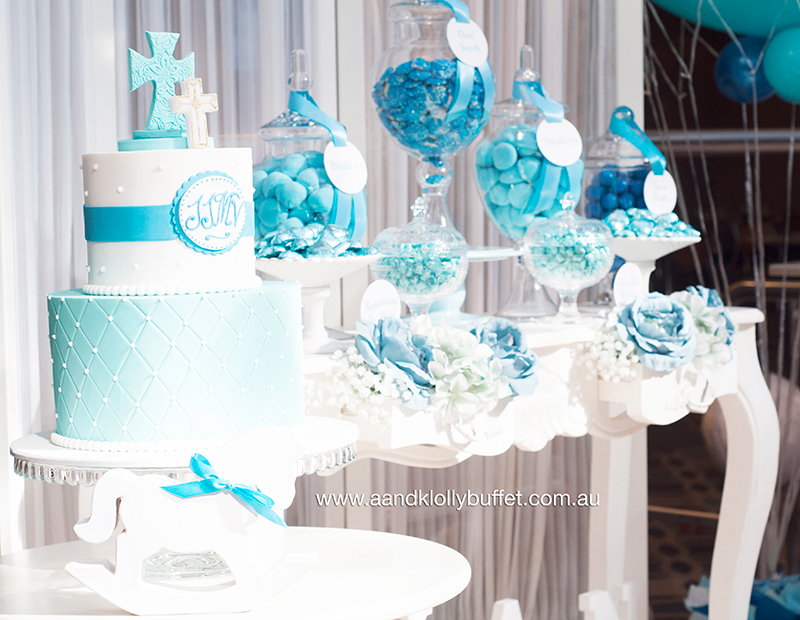 Jaxan's Baby Blue Baptism Lolly Buffet by A&K Lolly Buffet